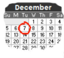 Calendar showing the date of the next meeting - 7th December 2010