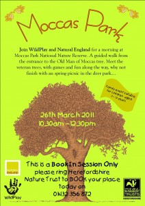 Flyer for a family visit to Moccas Park in March 2011
