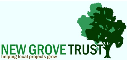 A logo comprising of a tree, with the words New Grove Trust - helping local projects grow