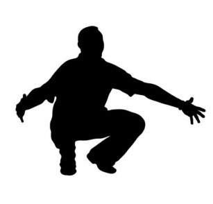 A silhouette of a crouching dad holding out his arms